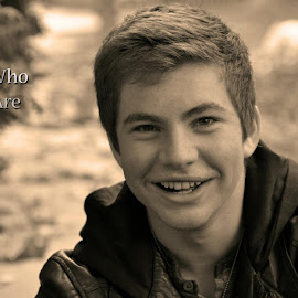 Loving You by Taylor Gillen - Typography Captioned Photos ( captioned photo, black and white, teenager, smile, portrait )