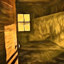 They Took Everything @ Dawn, Again by Allen Crenshaw - Painting All Painting ( story, doorway, mystery, illustration, duotone, western, depression, painting )