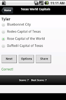 Screenshot of Texas Capitals & City Slogans