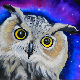 Night Owl by Veronica Blazewicz - Painting All Painting ( bird, avian, colorful, art, owl, horned, raptor, night, painting, artwork )