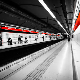 Red Metro by Francesco Domesi - City,  Street & Park  Street Scenes ( red, railway, metropolitan, metro, street, train, line, people, barcellona, barcelona, photography )