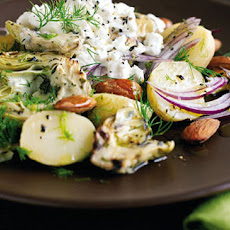 Potato, smoked almond and artichoke BBQ salad recipe