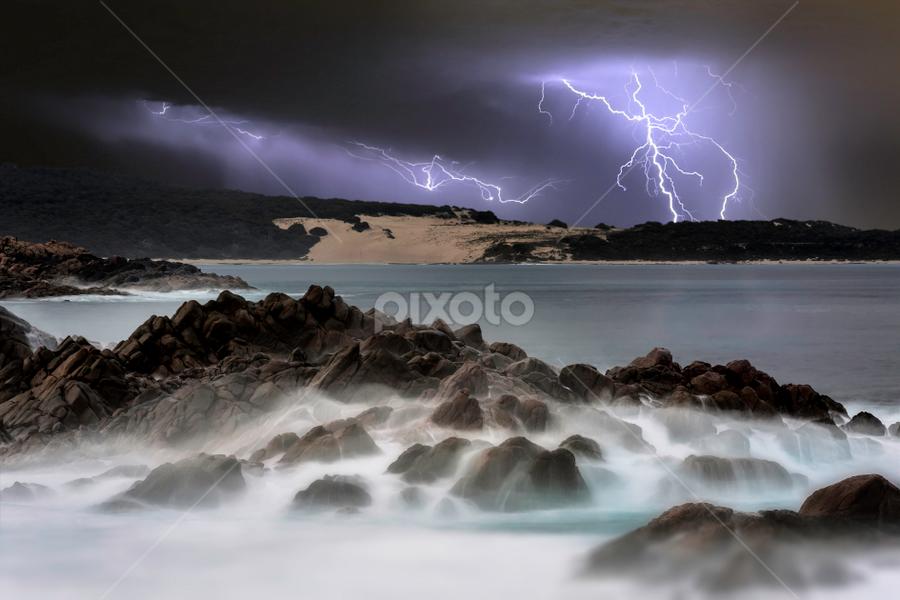 Canal Rocks Thunderstorm by Craig Eccles - News & Events Weather & Storms ( clouds, thunder, lightning strike, waves, lightning storm., ocean, beach, storm, lightning, lightning bolt, thunder strike, sky, event, cloud, thunder and lightning, weather, thunder storm, thunder bolt, rocks )