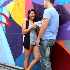 Couple Talking by Henrik Lehnerer - People Couples ( cup, drinking, college, recreation, people, caucasian, love, break, flirt, time, student, flirting, woman, smile, smiling, partnership, leaning, coffee, happiness, leisure, portrait, lean, outdoors, wall, socialising, romance, contact, looking, style, attractive, happy, couple, men, man, university, male, girlfriend, romantic, togetherness, adult, women, young, relationship, two, talking, school, boyfriend, female, heterosexual, standing )