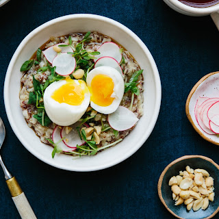 Breakfast Porridge with Soft Egg and Pea Shoots