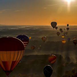 Balloon Ride by Carol Plummer - Transportation Other ( fog, transportation, sunrise, balloon, landscape, morning, hot air balloons, orange sky,  )