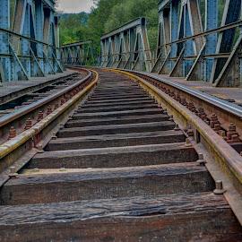 Railway tracks by Stratos Lales - Transportation Railway Tracks ( sky, railway, bridge, tracks, river )