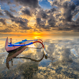 Perfect Reflection by Gede Suyoga - Landscapes Cloud Formations ( clouds, sky, waterscape, landscape, boat )