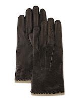 Portolano Perforated Leather Gloves, Black/Wood Smoke - (LARGE)
