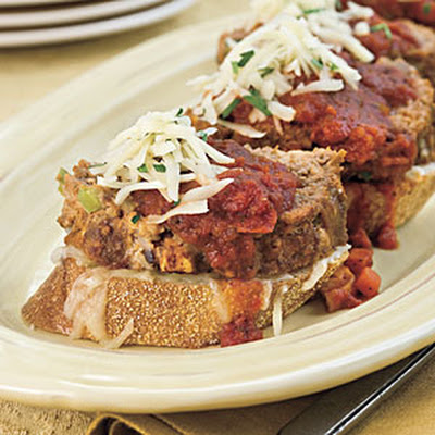 Beef-and-Sausage Meatloaf With Chunky Red Sauce on Cheese Toast