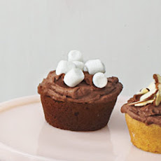 Chocolate Cupcakes With Chocolate Ganache Frosting and Mini Marshmallows