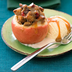 Baked Apples with Cranberry Molasses Bread Pudding