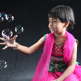 bubbles by Prince Ravi - Babies & Children Child Portraits ( life, pink girl, girl, bubbles, indian )