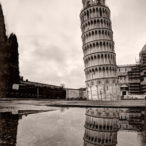 leaning tower reflected by Keith Britton - Buildings & Architecture Public & Historical
