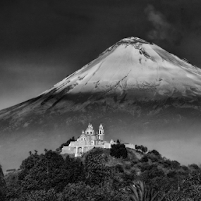 POpocatepetl and Church by Cristobal Garciaferro Rubio - Black & White Landscapes ( volcano, popo, mexico, popocatepetl, snowy volcano )