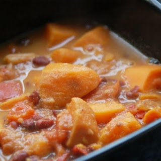 African Sweet Potato Stew with Red Beans and Peanut Sauce