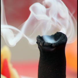 Smoke by Mihir Shah - Abstract Macro ( candle, white smoke, safety, dhoop, smoke )
