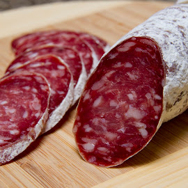 mold coated salame by Jessica Sacavage - Food & Drink Meats & Cheeses ( mold, salame, sliced, meat, milano,  )