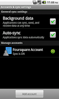 Screenshot of Contacts Sync for Foursquare