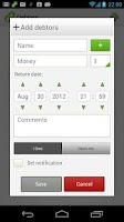 Screenshot of Debtors