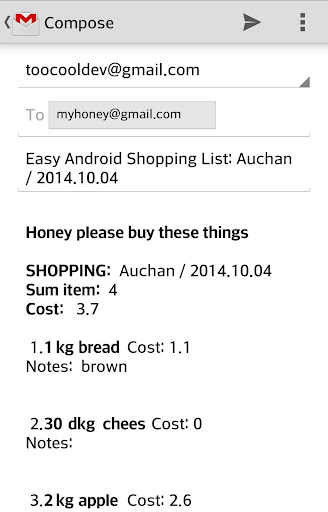 Easy Android Shopping List Pro - screenshot