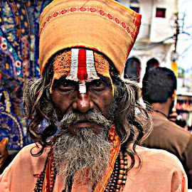 sadhu, saint, udaipur, hindu, india, rajasthan, blessing, namaste, street,  temple by Shamim Sujan - People Street & Candids ( hdr, 60d, lake city, people )