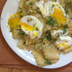 Torn Pasta Sheets with Brown Butter, Herbs, and Poached Eggs