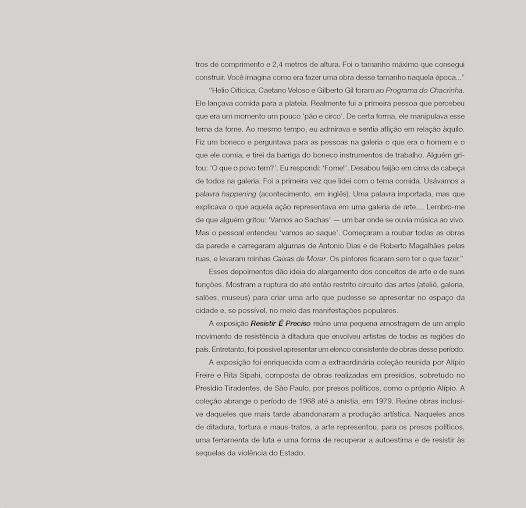 """""""Esses depoimentos dão idéia do alargamento dos conceitos de arte e de suas funções.""""- texto de Fábio Magalhães"""
