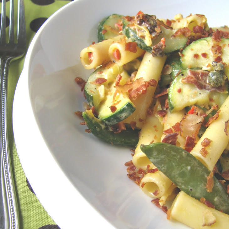 Vegetable Ziti with Garlic Caper Cream Sauce and Bacon Crumbles Recipe ...