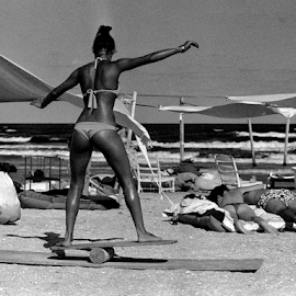 Training Girl by Adrian Popescu - Sports & Fitness Surfing ( film, b&w, girl, expired, black and white, woman, ass, analogue, bikini, beach, analogic, analog )