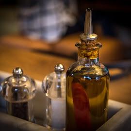by Milos Vasic - Food & Drink Ingredients ( olive oil, ingredients, peper, tasty, food, oil )