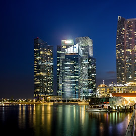 Marina Bay Singapore at Night by Charles Ong - City,  Street & Park  Night ( lights, offices, buildings, marina bay, singapore, nightscape )