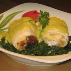 Stuffed Fish Rolls With Asparagus Hollandaise Sauce