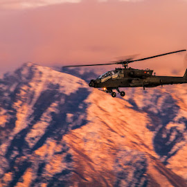 Beautiful Apache AH-64D by Scott Stringham - Transportation Helicopters ( rotor, helicopter, beautiful apache ah-64d, ah-64 apache, chopper, apache, u.s. army, ah64, army, flight, ah-64 apache out for a sunset stroll, aviation, helo, sunset stroll, apache ah-64, rotorcraft, ah-64d, ah-64, army national guard, ah-64d apache longbow )