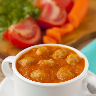 Basil Tomato Soup with Turkey Meatballs