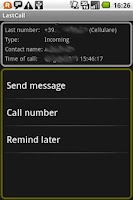 Screenshot of LastCall, 1click phone actions