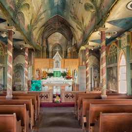 The Painted Church by John Magnus - Buildings & Architecture Places of Worship ( kauai, painted church, church, father john verge, catholic church, hawaii, Architecture, Ceilings, Ceiling, Buildings, Building )