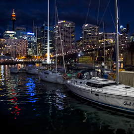 Darling Harbor Sydney by Loredana  Smith - City,  Street & Park  Night ( lights, water, night, architecture, boat )