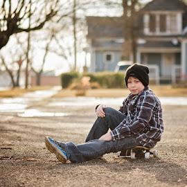 chilling by Alicia Rae - Babies & Children Children Candids ( child, handsome, cute, skateboard, boy )