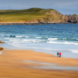 Walk on canvas by Pietro Bevilacqua - Landscapes Beaches ( scotland, walking, old, waves, canvas, ocean, beach, durness, highlands, people, sands, mountainn, woman, couple, sango, walk, rocks, man )