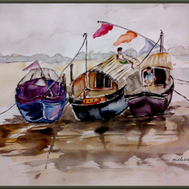 Boats on river by Milan Kumar Das - Painting All Painting