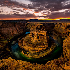 Horseshoe Bend, Grand Canyon by Sheldon Anderson - Landscapes Caves & Formations ( water, az, page, sunset, canyon, night, river, grand canyon, blue, orange. color,  )