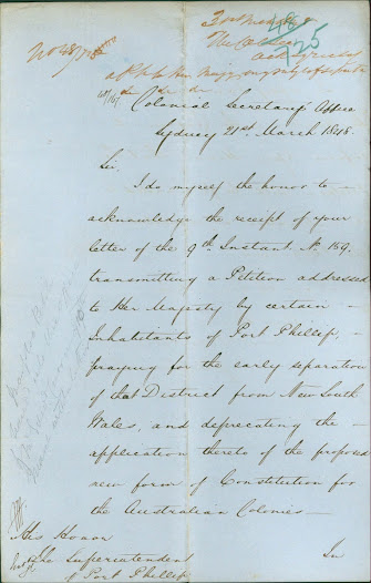 Assurance is provided by the Colonial Secretary that the petition will reach the Queen. Click on the image to read the transcription.