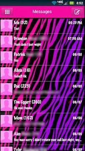 GO SMS Girly Zebra Theme - screenshot