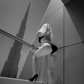 Burj by Mino Taurus - Nudes & Boudoir Boudoir ( building, tower, black and white, woman, hotel, architecture, balcony )