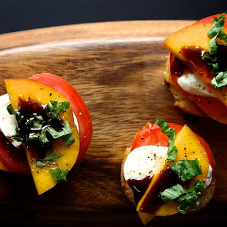 Peach Tomato and Mozzarella Crostini