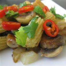 Stir-Fried Mushrooms with Baby Corn
