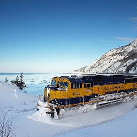 Dawn Surprise by Frank Keller - Transportation Trains ( chugach mountains, dawn, trains. railroads, snow, alaska, sunrise, beluga point, chugach )