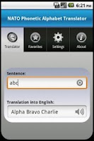 Screenshot of NATO Alphabet Translator