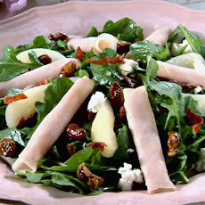 Smoked Turkey and Pear Salad with Pomegranate Vinaigrette and Prosciutto Croutons
